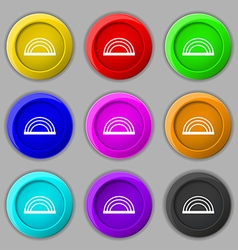 rainbow icon sign symbol on nine round colourful vector image