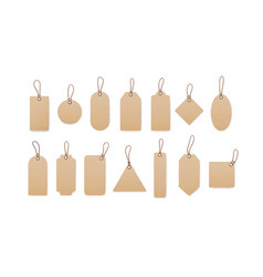 Realistic craft carton paper price tags of vector