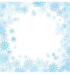 Rectangular frame with small blue snowflakes vector