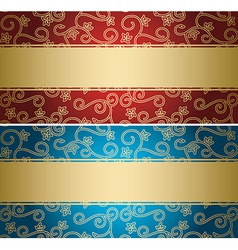 Red and blue backgrounds with golden pattern vector