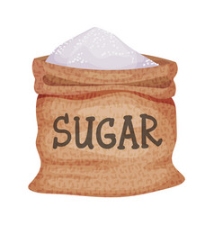 Sack refined sugar as sweetener for food and vector