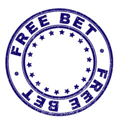 Scratched textured free bet round stamp seal vector