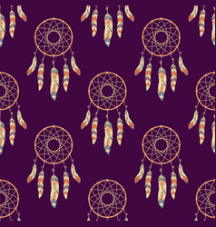seamless pattern with dream catchers vector image