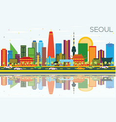 seoul korea skyline with color buildings blue sky vector image