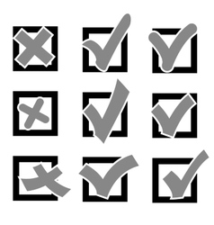 Set check marks or ticks in boxes conceptual vector image
