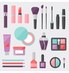 Set colored cosmetics icons in flat style vector