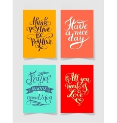 set of four bright colors handwritten lettering vector image