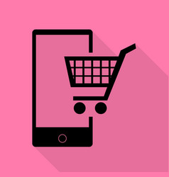 shopping on smart phone sign black icon with flat vector image