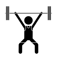 Silhouette man weight lifter sport athlete vector