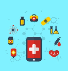 smart phone with medical icons for web design vector image