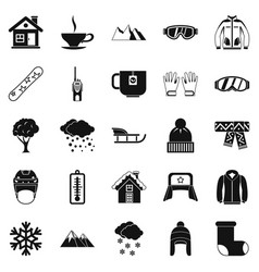 Snowy weather icons set simple style vector