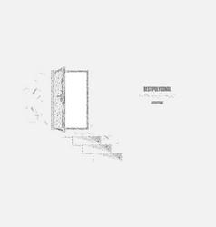 steps to door doorway polygonal triangles vector image