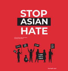 Stop asian hate people silhouettes holding banners vector