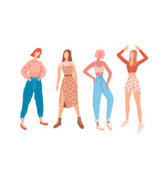 student girls in everyday outfits set fashion vector image