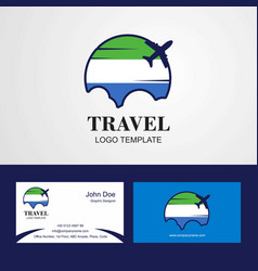 Travel sierra leone flag logo and visiting card vector