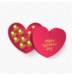 valentines day heart gift box with chocolate vector image