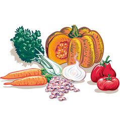Vegetables for soup vector