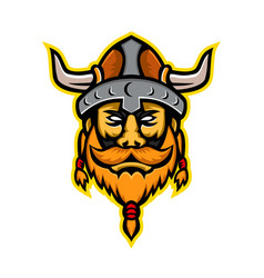 Viking warrior or norse raider head mascot vector