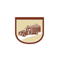 Vintage Pickup Truck Delivery Harvest Shield Retro vector