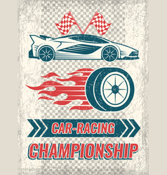 vintage poster with racing cars template vector image