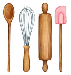 watercolor cooking tool set wooden utensils vector image