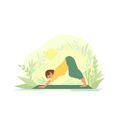 woman practicing yoga outdoors in nature vector image