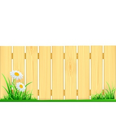 wooden fence and green grass vector image