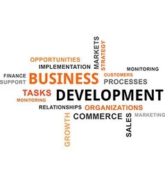 word cloud business development vector image vector image