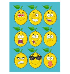 yellow lemon fruit cartoon emoji face collection vector image