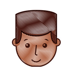 young man black head avatar character vector image