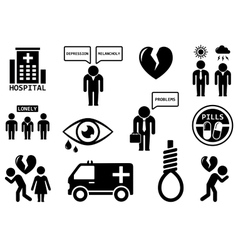 emotional disorders concept icon set vector image