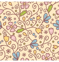 Flowers and leaves seamless pattern background vector image vector image