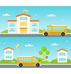 Road to and from school School bus building vector image vector image