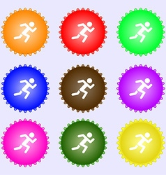 simple running human icon sign Big set of colorful vector image vector image
