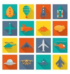 Aircraft icons set vector image