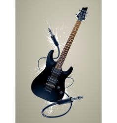 Black guitar with cables vector image vector image