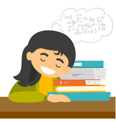 Caucasian student sleeping on the desk with books vector