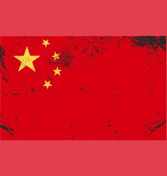 china grunge flag vintage retro style vector image
