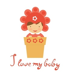 Cute baby in floral hat sitting in a pot vector image vector image