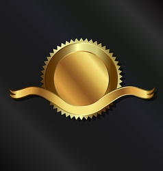 Gold seal with ribbon vector image vector image