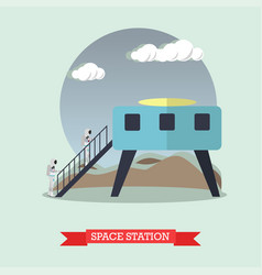 space station concept in flat vector image