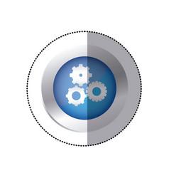 sticker color circular emblem with pinions set vector image
