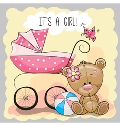 Teddy bear with baby carriage vector image vector image