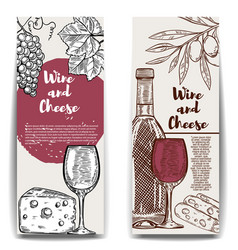 wine and cheese banner templates design elements vector image