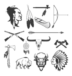 Indian icons Native americans American indians vector image