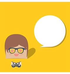 cartoon doodle man rectangle play games bubble vector image