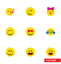 Flat icon face set of laugh love joy and other vector