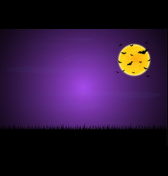 halloween flying bat moon graveyard background vector image