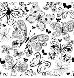 Monochrome black seamless pattern vector image