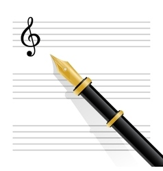 Musical staff clef and pen vector